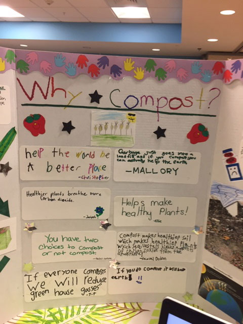 Fourth Graders explain the composting system they have set up in their school