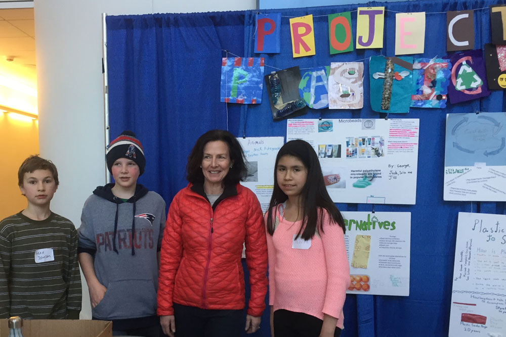 5th grade teacher creates a fantastic exhibit, based on her existing unit on plastic waste